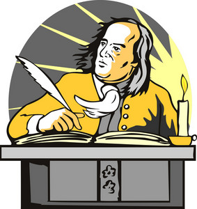 Ben Franklin Writing Retro
