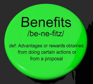 Benefits Definition Button Showing Bonus Perks Or Rewards