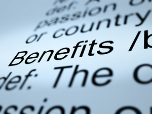 Benefits Definition Closeup Showing Bonus Perks Or Rewards