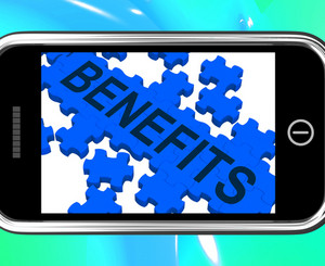 Benefits On Smartphone Shows Monetary Rewards And Bonuses