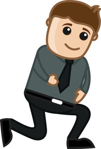 Bent Down Pose - Office Corporate Cartoon People