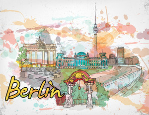 Berlin Doodles With Grunge Vector Illustration