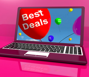 Best Deals Balloons On Computer Representing Discounts Online