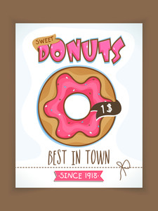 Best in Town Donuts menu card design with price details for Sweet House.