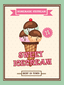 Best in Town Homemade Ice Cream menu card design with price.