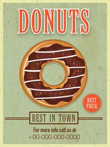 Best in town vintage menu card design for donuts shop with best price.