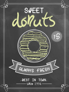 Best in town vintage menu card with chalkboard background for sweet donuts shop.
