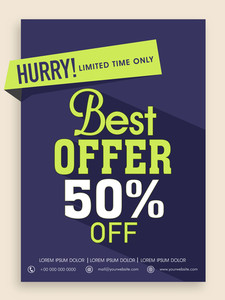 Best Offer poster banner or flyer design with 50% off for limited time.