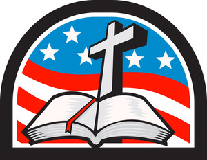 Bible And Cross Stars And Stripes Flag Retro