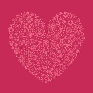 Big Beautiful Heart On Pink Background