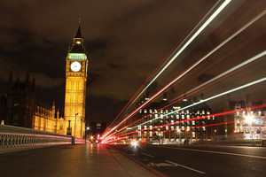 Big Ben With Traffic At Night