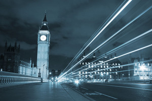 Big Ben With Traffic Light Beams - Blue Toned