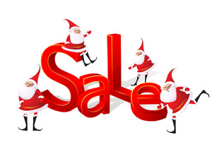 Big Christmas Sale With Santa. Vector.