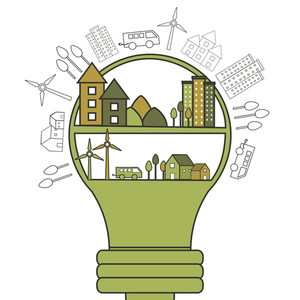 Big light bulb with illustration of buildings