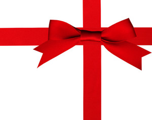 Big Red Holiday Bow On White Background With Clipping Path