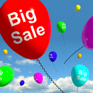 Big Sale Balloons In Sky Showing Promotions Discounts And Reductions