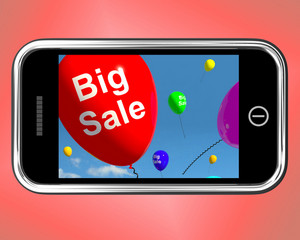 Big Sale Balloons On Mobile Phone Shows Promotions And Reductions