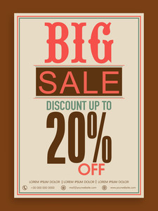 Big sale flyer banner or template design with discount offer for your business.