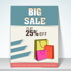 Big sale flyer with flat 25% off with shopping bags place holder and mailer.