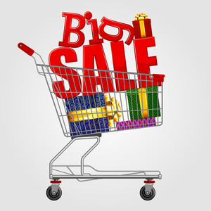 Big Sale! Shopping Cart Full Of Gift Boxes. Vector.