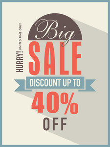 Big sale with discount offer for limited time flyer banner or template.