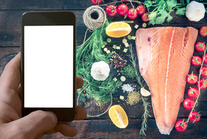 Big Salmon Fillet And Blank Screen