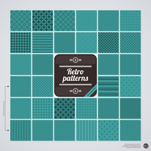 Big Set Of 32 Seamless Patterns In Retro Style. Eps10.