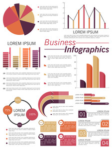 Big set of business infographic elements include pie chart