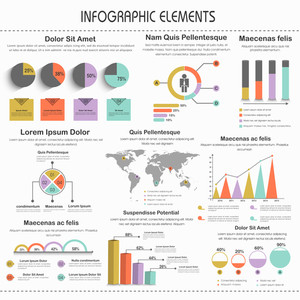 Big set of colorful business infographic elements for print