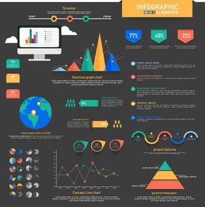 Big set of creative colorful statistical infographic elements