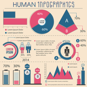 Big set of Human Infographic elements including statistical chart and graphs for professional presentation.
