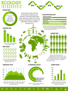 Big set of various ecological infographic elements with statistical graphs