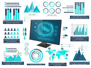 Big set of various statistical infographic elements including graph