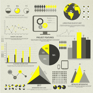 Big set of various statistical Infographic elements including graphs
