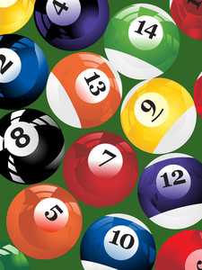 Billiard Balls Triangle On A Green Background