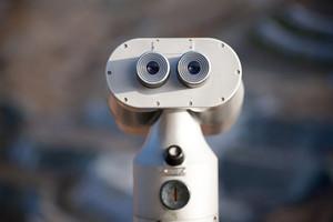 Binoculars close up detail background