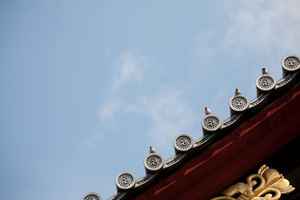 Bird on japanese temple roof against blue sky.