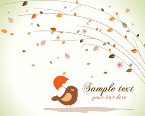 Bird With Floral Vector Illustration