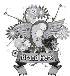 Bird With Floral Vector T-shirt Design
