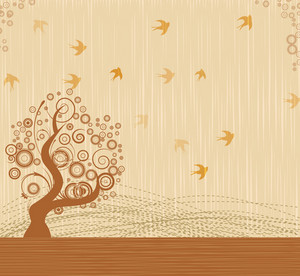 Bird With Tree Vector Illustration