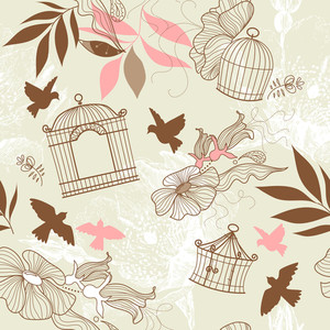 Birds And Bird Cages. Seamless Pattern
