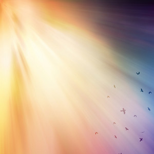 Birds flying in the sky with colorful rays of light.