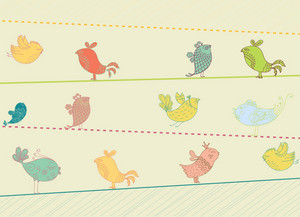 Birds On Wire Vector Illustration