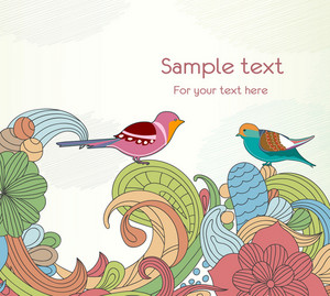 Birds With Floral Vector Illustration
