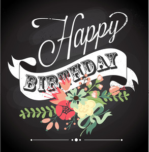 Birthday Card In Chalkboard Calligraphy Style With Cute Flowers