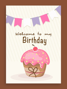 Birthday celebration invitaion card decorated by colorful flags and cupcake.