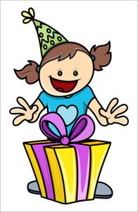 Birthday Girl Got A Present - Vector Illustrations