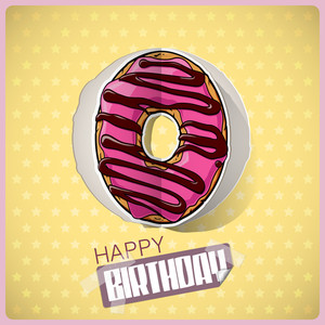 Birthday Greeting Card With Cartoon Donut Cut Out From Paper. Vector Collection.
