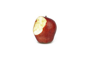 Bitten Red Apple On White Background