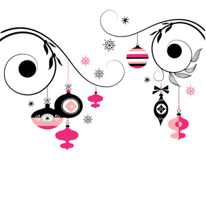 Black And Pink Christmas Ornaments